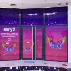 Création visuelle Vitrophanie centre commercial Evry 2