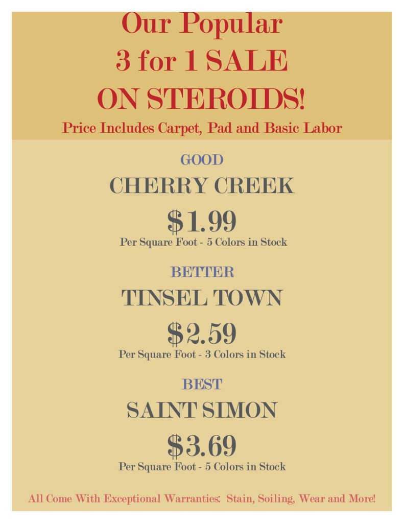 Our popular 3 for 1 sale ON STEROIDS!