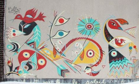 detail of mural by Carlito Dalceggio in Rosemont