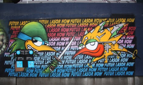 Under Pressure Festival zone 2014 - Futur Lasor Now on boarded wall