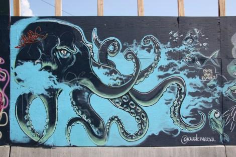 Under Pressure Festival zone 2014 - Aude Maeva on boarded wall