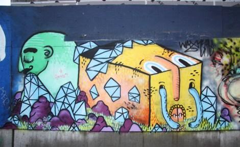Under Pressure Festival zone 2014 - Waxhead on boarded wall