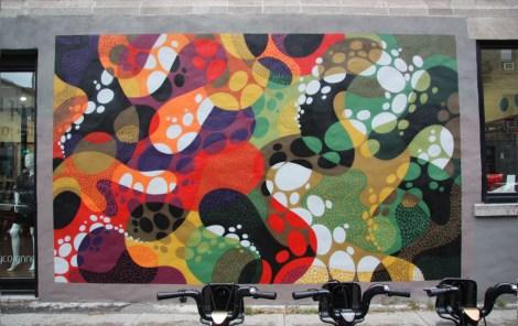 abstract mural by Matt W Moore on Villeneuve corner St-Laurent