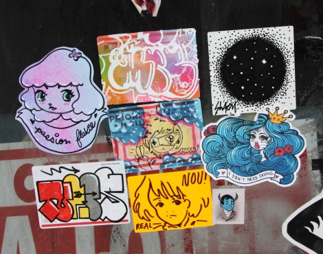 Stickers by Stela (top left), Naps (bottom left), Swarm (top right), Waxhead (bottom right), with unidentified friends