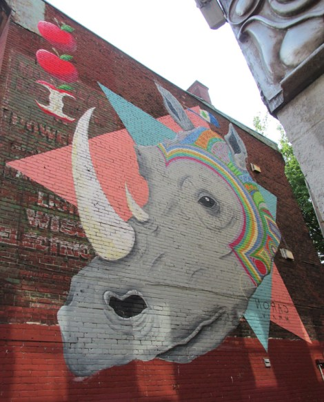 Caron mural done in the context of the 2014 Mural Festival