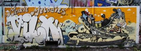 Vilx mural in alley behind Ste-Catherine, near Desjardins