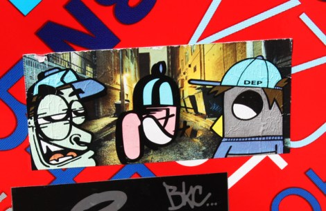 sticker collaboration between Moen (left), Cantstopink (middle) and ROC514 (right) for DEP gang