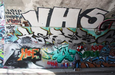 Rouks (bottom centre), Arose (middle) and VH5 (top) at the Rouen tunnel legal graffiti wall