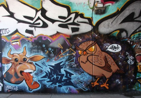 Nese (centre letters) and Elfu (characters) at the Rouen tunnel legal graffiti wall