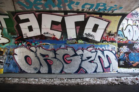 Orgzm (bottom), Acro (top) at the Rouen tunnel legal graffiti wall