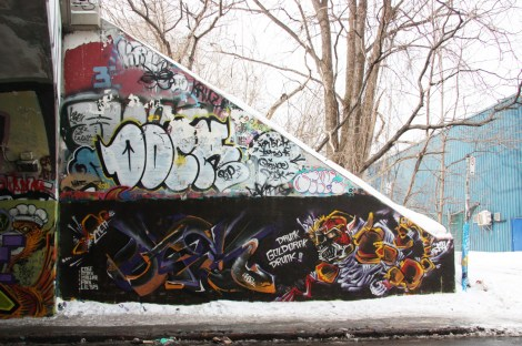 Max (bottom) and a tribute to Dock (middle) at the Rouen tunnel legal graffiti wall