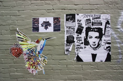 Lily Luciole (bird), Decolonizing Street Art (flag) and 2U4UByU (right) wheatpastes and posters