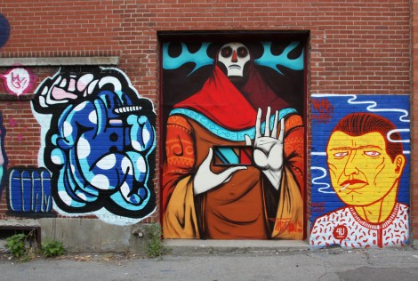 4U crew triptych for Plaza Walls featuring Germdee (left), Tiburon (centre) and Mono Sourcil (right)