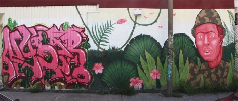 Nybar graffiti (left) and Mono Sourcil mural (right)