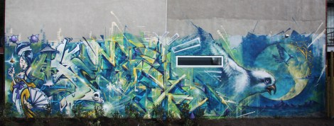 Monk.e (middle and right) and Axe (left) mural in Hochelaga