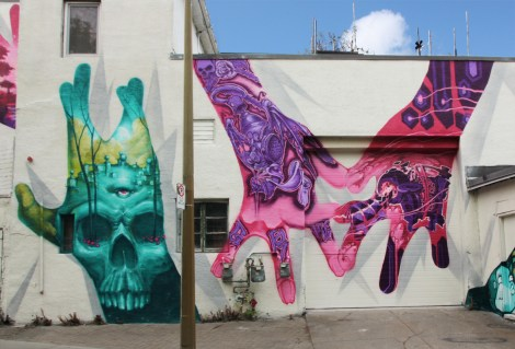 Monk.e (left), Strike (middle) and Flying Eric (right) for A'Shop's Hip Hop You Don't Stop project on the walls of a NDG garage