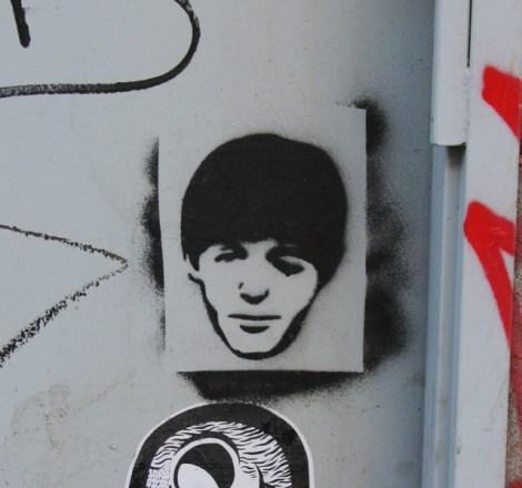 stencil of Paul McCartney head by unidentified artist