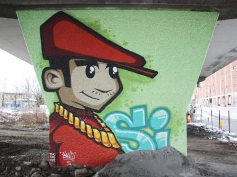 Sion 'mural' on a pillar of the Van Horne|Rosemont overpass
