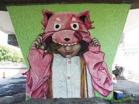 Reuben Peter-Finley aka Sbire 'mural' on a pillar of the Van Horne|Rosemont overpass