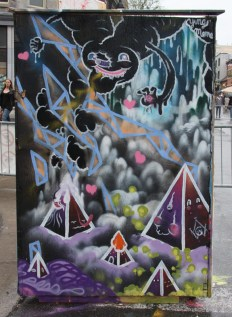The Wzrds Gng on the back of an information panel for the 2015 edition of Mural Festival
