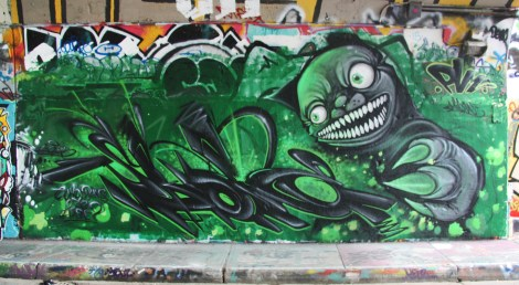Skope (left) and Miow (right) at the Rouen tunnel legal graffiti walls