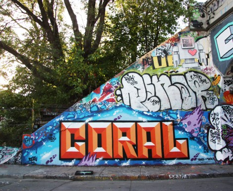 Coral (bottom), a Penar throwie (middle) and a Lovebot wheatpaste (top)