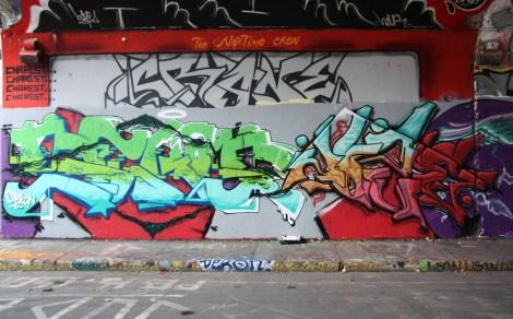 Dekon (left) and Joze One (right) at the Rouen legal graffiti tunnel