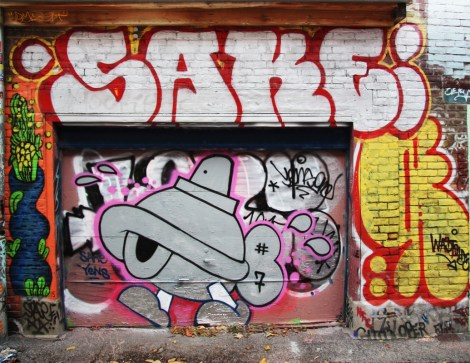 Turtle Caps (on door), Sake throwie at the top, Waxhead on the left, Wastoids on the right, in Plateau End alley