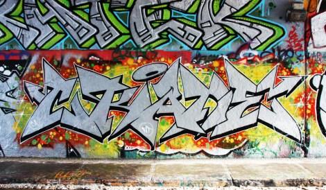 Crane at the Rouen legal graffiti tunnel