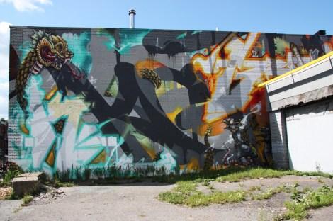 mural in Hochelaga Maisonneuve by Scaner, Axe and Stare