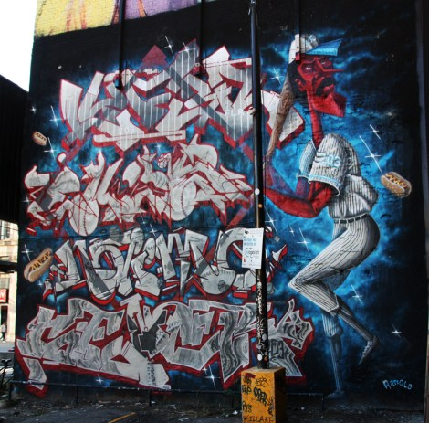 The 203 crew wall for the 2016 edition of Under Pressure, featuring, from top to bottom, Lyfer, Ekes, Naimo and Sener, with baseball player by Arnold.