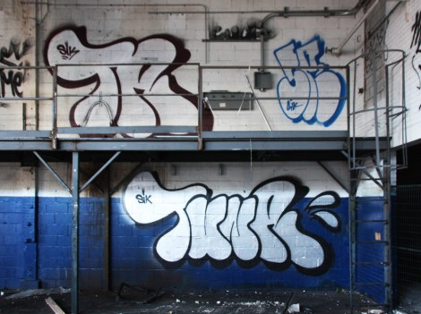 Tuna (bottom and top left), Skor (top right), throws in the abandoned Transco's blue room