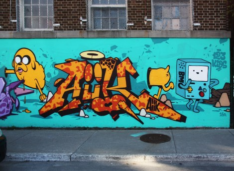123Klan's Aiik (letters) and Slick (character) in Plateau End