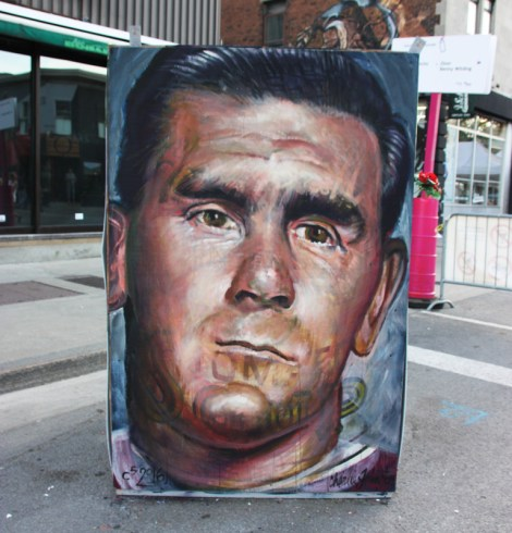 C5 aka Charlie Johnston on the reverse of an information board for the 2016 edition of Mural Festival