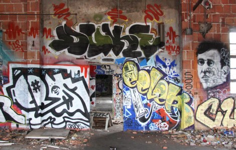 "Crack (left), Ecler (right) and Duke (above) inside the abandoned ""Jailspot"""