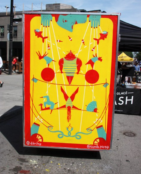 Djibril M-P and Camille Perreault on reverse of info/ad board for the 2017 edition of Mural Festival