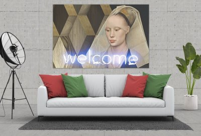 Welcome Wood Canvas