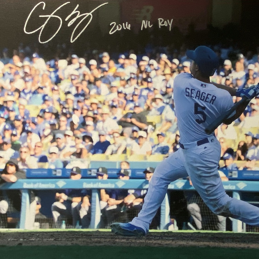 Signed picture of Corey Seager from LA Dodgers