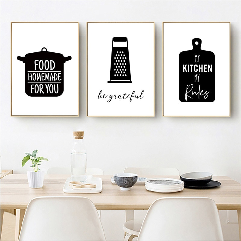 Kitchenware Wall Art Canvas Painting Kitchen Quote Posters And Prints Black White Pictures Modern Decoration Yx126 Accents