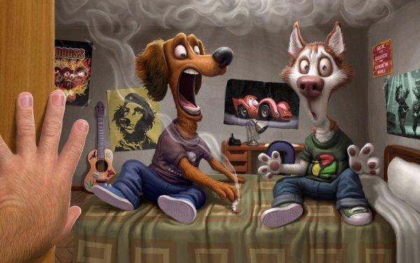 Обои открытая дверь, растерянность и паника курящих ...