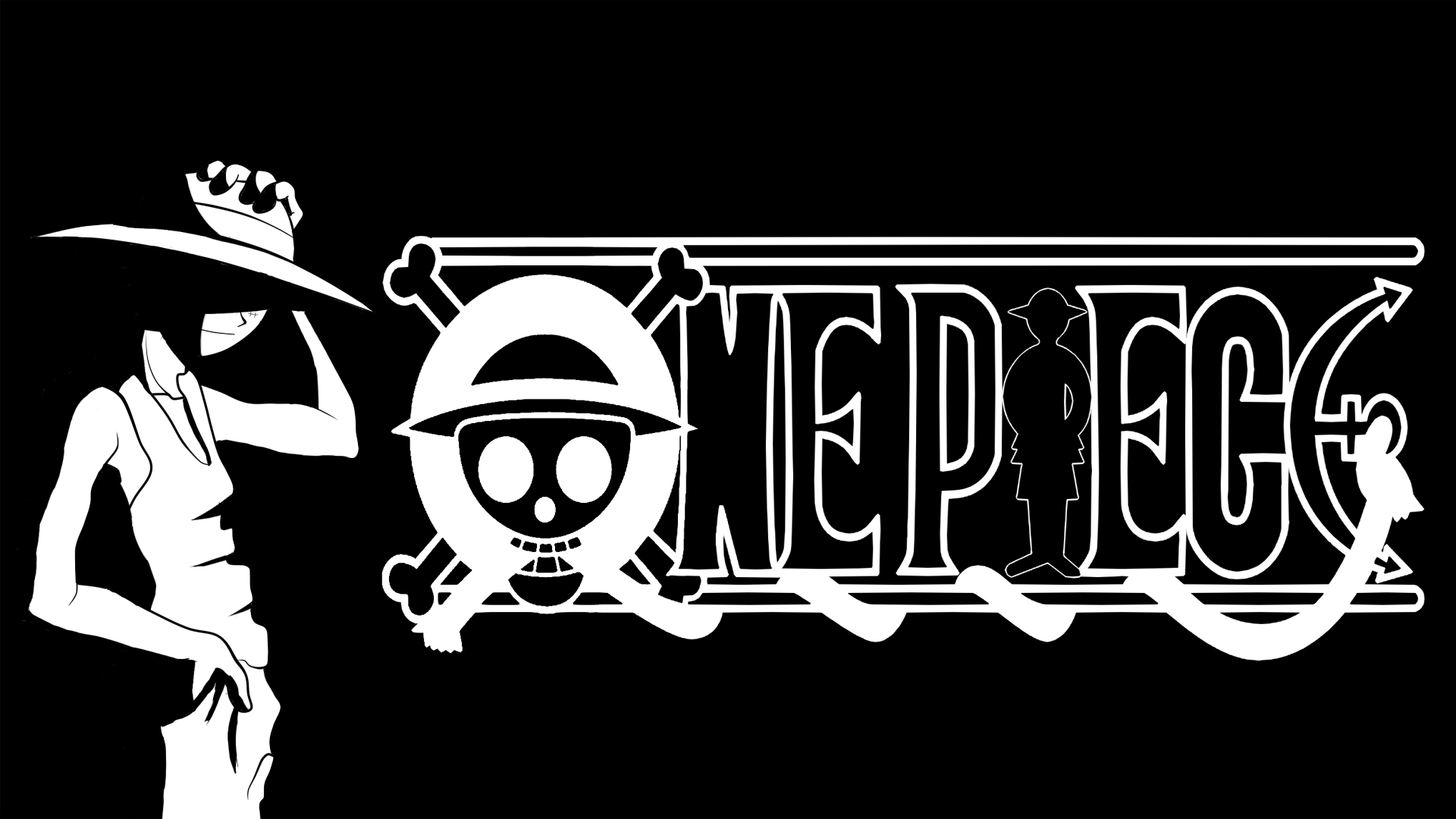 One Piece Black And White Background 5886 Wallpaper