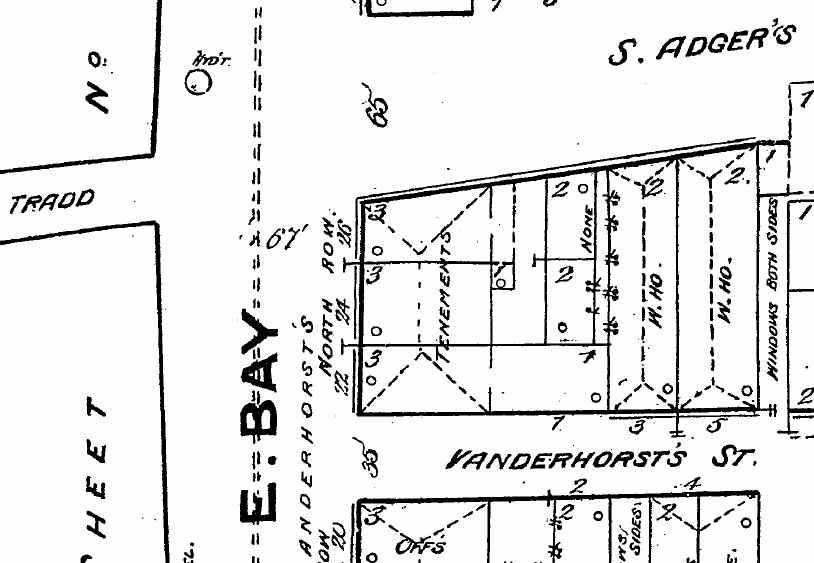 Vanderhorst's North Row (center), from the 1884 Sanborn Insurance Map