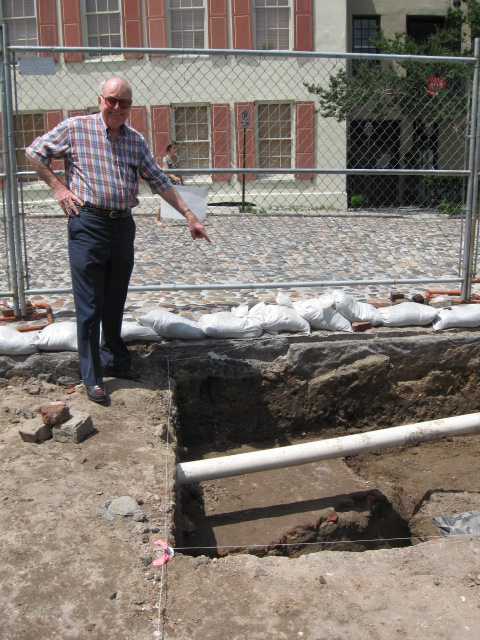 Walled City Co-Chair Peter McGee checks out the redan