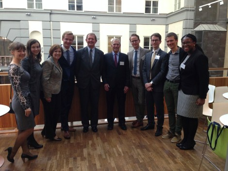 The Wallenberg Fellows pose for a group photo with Marcus Wallenberg