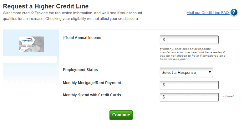 CapitalOne Credit Line Increase Request