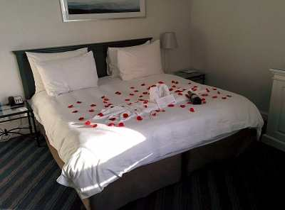 """A """"honeymoon"""" note in our reservation at the Radisson Blu Waterfront Hotel in Cape Town, South Africa led to a rose-petal-covered bed and a bottle of champagne! Similar treats greeted us at other hotels also."""