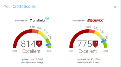 Credit Karma gives two VantageScore 3.0 scores - one with TransUnion data and one with Equifax.