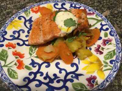 Seared Salmon with Glazed Carrots & Saffron-Yogurt Sauce