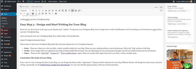 How To Start A Blog - WordPress Admin Panel