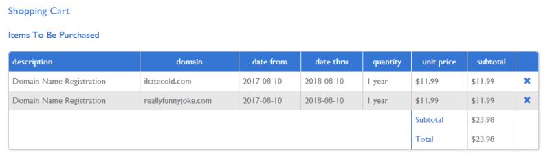 The two domains I bought for my first Domain Flipping experiment.